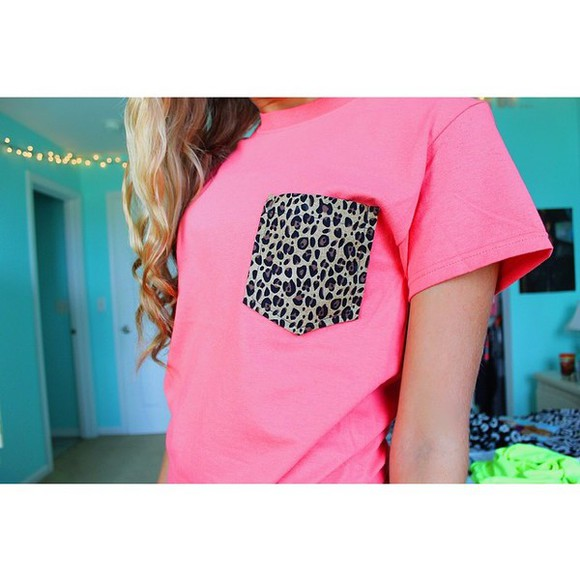 leopard print t-shirt pocket t shirt