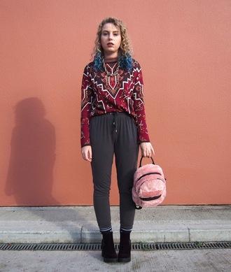 the velvet black grunge blogger sweater bag shoes fluffy bag furry bag furry backpack pink backpack backpack boots