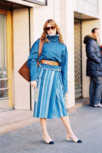 vanessa jackman blogger top blouse denim top midi skirt shoulder bag brown bag mid heel pumps chanel slingbacks slingbacks