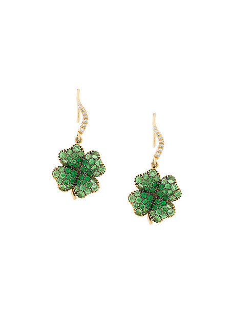 women earrings gold green jewels