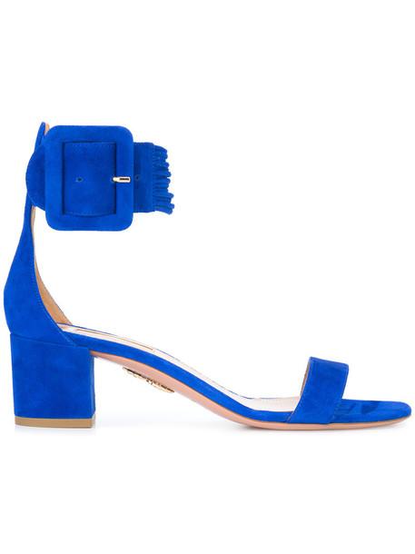 Aquazzura women sandals leather blue suede shoes