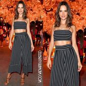 jumpsuit,nastygal,downtown,los angeles,la,vintage,deadstock,stripes,black,white,wide leg,high waisted,crop tops,model,fashion,style,trendy,summer,downtown la,downtown los angeles,alessandra ambrosio