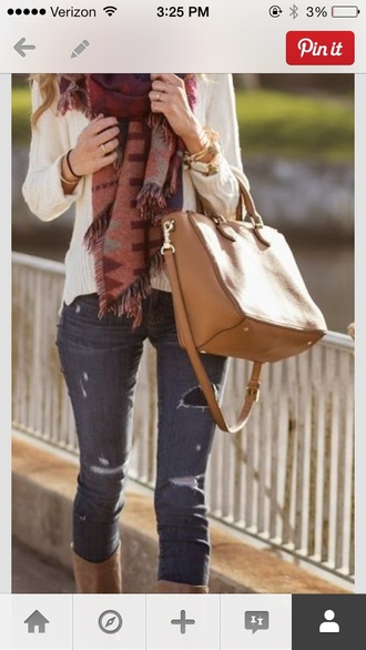 scarf t-shirt cute top fall sweater fall outfits fashion design love jeans purse bag cute shirt