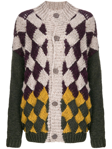 Oneonone - checked loose knit cardigan - women - Acrylic/Polyamide/Viscose/Alpaca - 2, Acrylic/Polyamide/Viscose/Alpaca