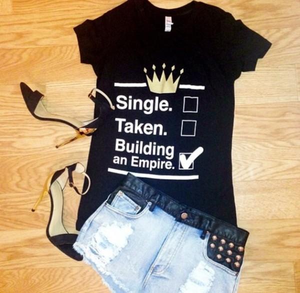 shirt black single taken queen boss sassy shoes t-shirt gold white