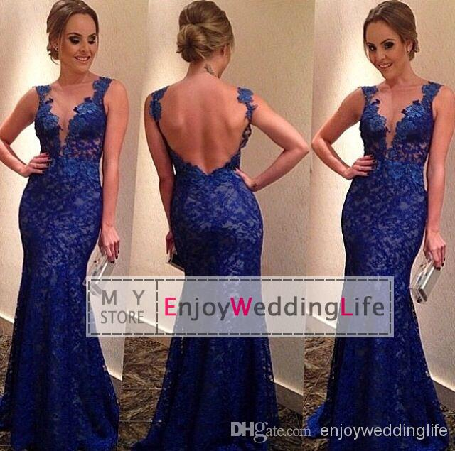 Discount 2014 new sexy royal blue lace mermaid evening dresses sheer tulle applique floor length backless prom gowns bo5737 online with $102.66/piece