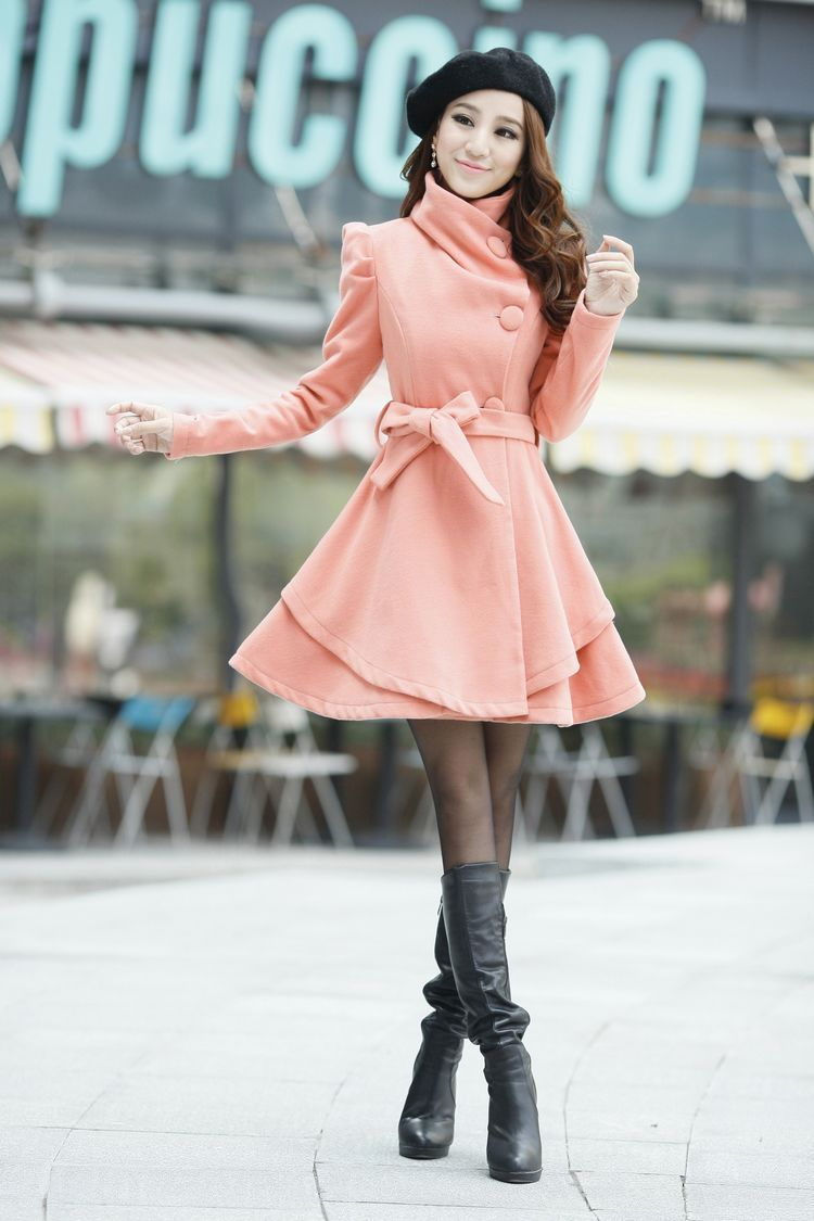 Hot Sell Fashion Women Lapel Slim Fit Wool Blend Trench Overcoat Skirt Long Coat | eBay