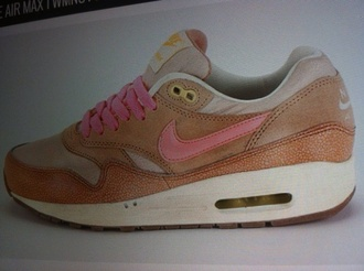 shoes nike nike shoes air max nike air max 1 pink orange shoes girly