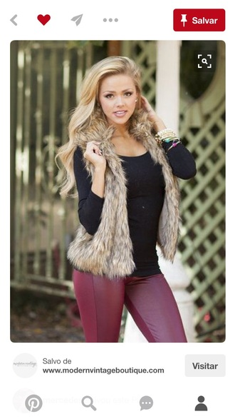 pants jacket faux fur vest fur vest