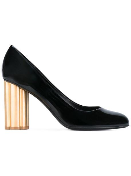 heel women pumps gold leather black shoes