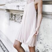 dress,tumblr,pink dress,pleated dress,slip dress,mini dress