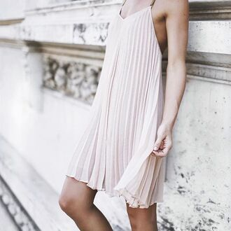 dress tumblr pink dress pleated dress slip dress mini dress