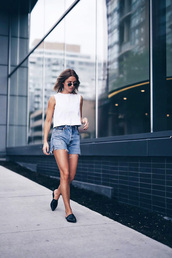 shoes,tumblr,black shoes,flats,mules,denim,denim shorts,shorts,top,sleeveless,sleeveless top,white top