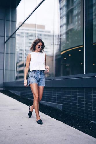shoes tumblr black shoes flats mules denim denim shorts shorts top sleeveless sleeveless top white top