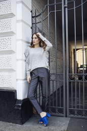 at fashion forte,blogger,sweater,jewels,pants,shoes,grey sweater,mules,blue shoes