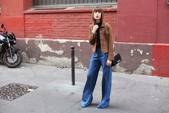 into your closet blogger flare pants suede jacket 70s style