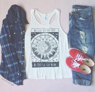 shirt print plaid shirt vans boyfriend jeans