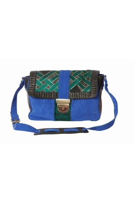 heimstone-sac-charlie-cuir-bleu-brocart-vert-lolitajacobs V2CU BLEUS