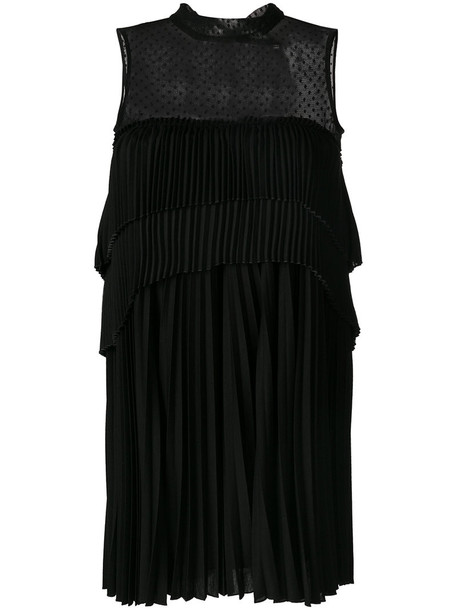 Max Mara dress women spandex layered cotton black