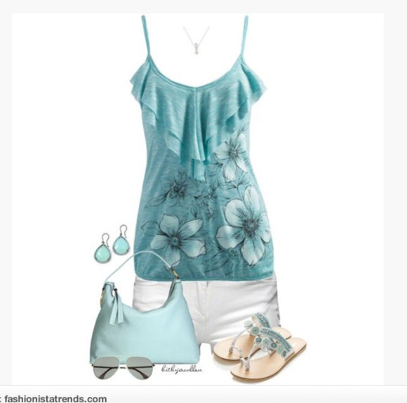 floral pattern shoes shorts clothes blouse top flowers bag spaghetti strap shirt summer top purse outfit earrings necklace sleeveless tank top ruffles ruffled top light blue top white shorts sandals light blue purse sunglasses sleeveless tank
