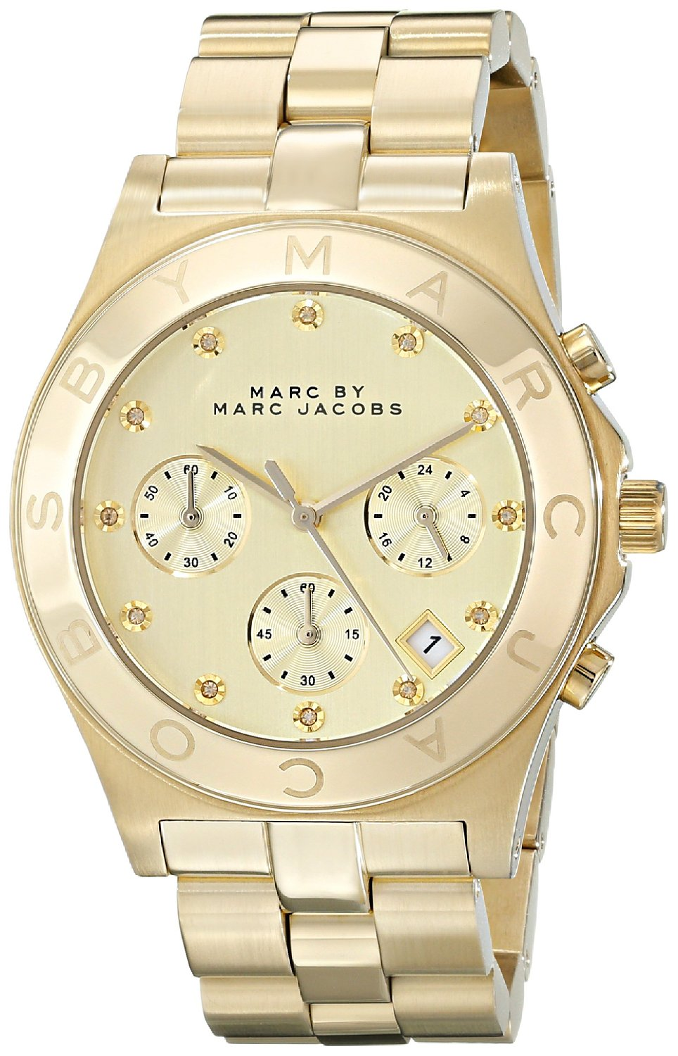 Tone stainless steel watch with link bracelet: marc jacobs: watches