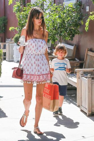 dress mini dress summer dress alessandra ambrosio sandals streetstyle model off-duty off the shoulder off the shoulder dress