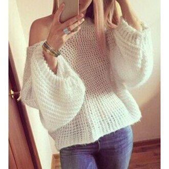 sweater rose wholesale hite white off the shoulder knitwear style oversized sweater knitted sweater winter outfits fine knit jumper