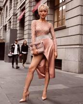 bodysuit,beige bodysuit,skirt,pink skirt,handbag,pink bag,shoes,beige shoes,underwear,bag