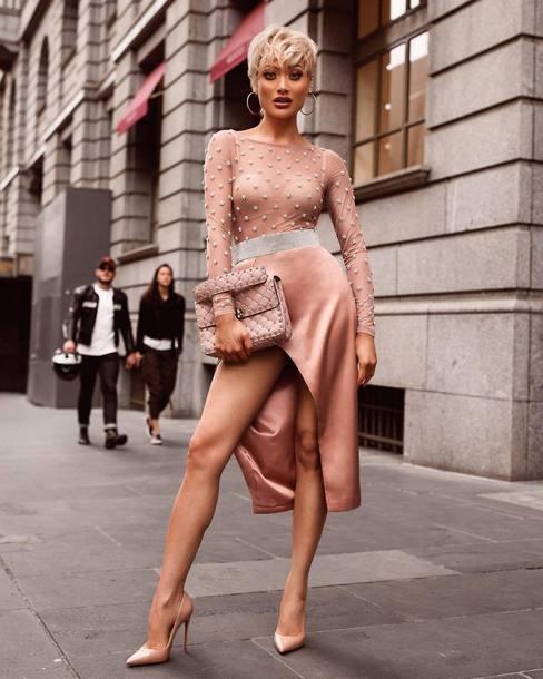 bodysuit beige bodysuit skirt pink skirt handbag pink bag shoes beige shoes underwear bag