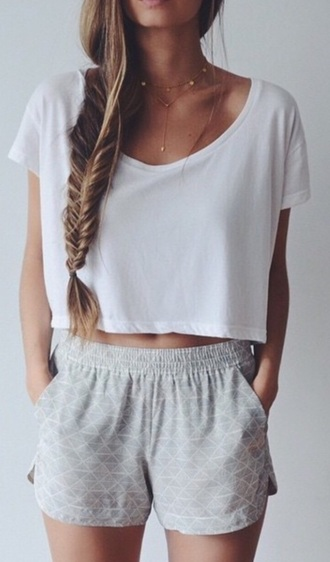 shorts pale style white gray cozy comfy crop tops top jewels