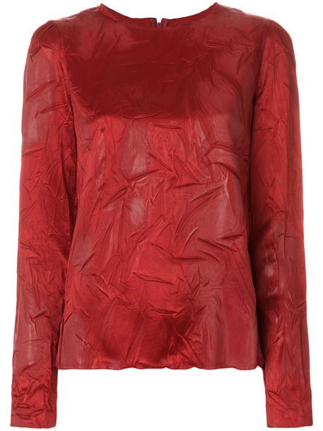 Maison Margiela - creased long sleeve top - women - Acetate/Viscose - 40, Red, Acetate/Viscose