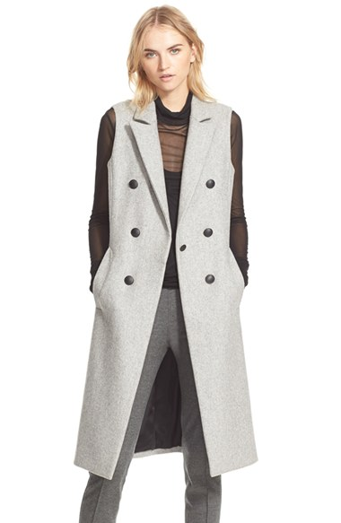 Grey Wool Blend Sleeveless Maxi Style Trench Coat | Vestiti