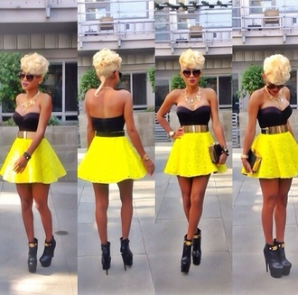 skirt floral skater skirt shirt bag shoes yellow