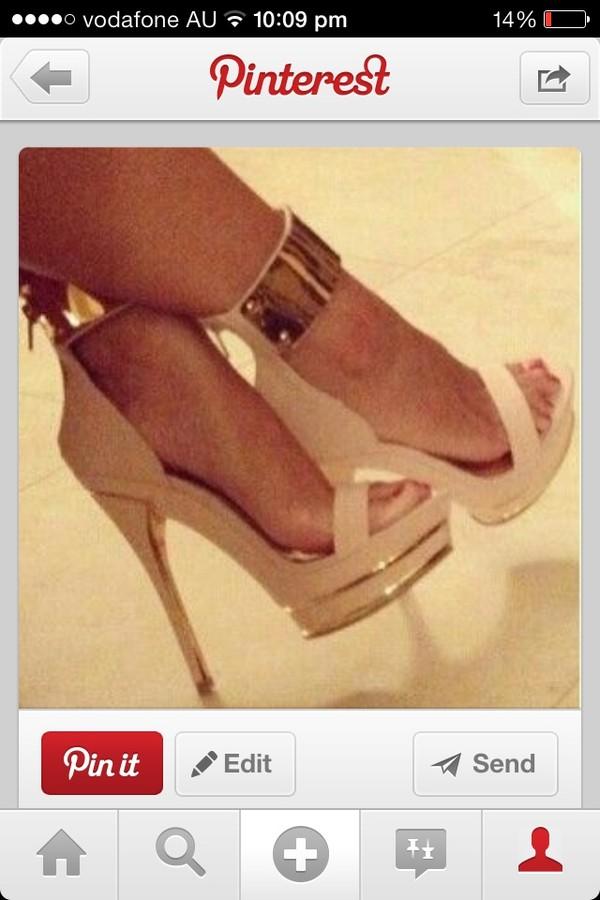 Beige Gold Accent Ankle Cuff High Heel Sandals