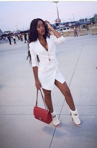 white blazer blazer dress asymmetrical asymmetrical dress white blazer white dress