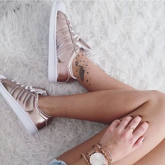 shoes adidas superstars adidas rose gold