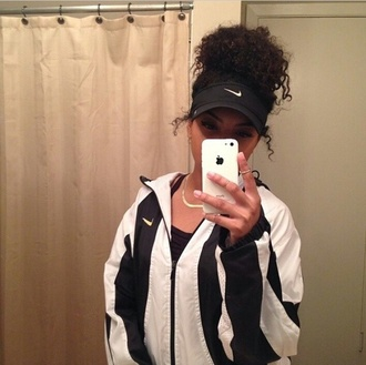 jacket nike air nike jacket nike black white coat windbreaker hat visor gold gold necklace necklace ring jewels stripes striped jacket iphone case accessories pullover cardigan adidas urban black and white iphone nike cap tumblr nike visor curly hair