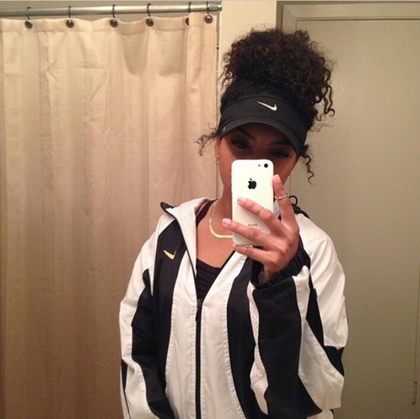 jacket nike air nike jacket nike black white coat windbreaker hat visor gold gold necklace necklace ring jewels stripes striped jacket iphone case accessories pullover black and white iphone