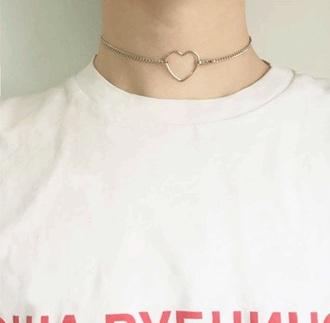 jewels girly heart choker necklace