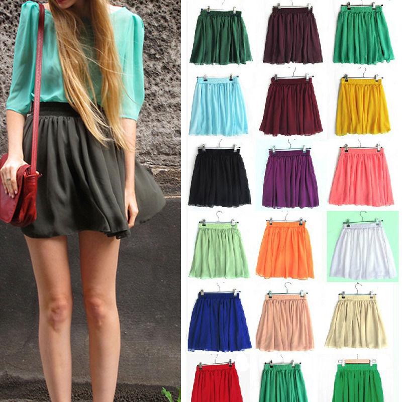 2014 Candy Colors Retro Double Chiffon High Waist Short Pleated Mini Skirt Dress | eBay