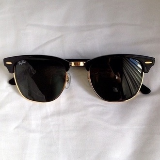rayban black sunglasses sunglasses black gold tumblr sun holidays fashion
