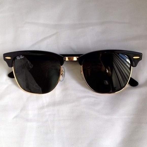 sunglasses rayban vintage black and gold hipster hippie boho black gold fashion summer raybans rim