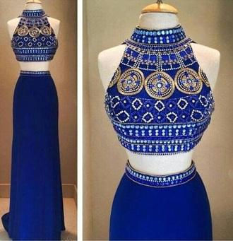 dress blue two piece dress