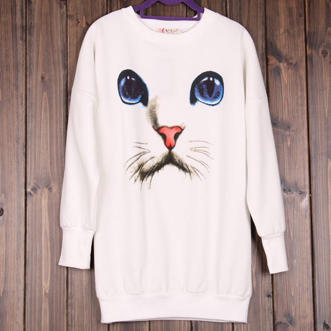 Women Chic Casual Blue Eyes Cat Face Print Trendy Knitted Sweater Jumper Jersey | eBay