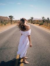 jestem kasia,blogger,dress,sunglasses,belt,shoes,ballet flats,off the shoulder dress,white dress,midi dress,summer dress,romantic summer dress