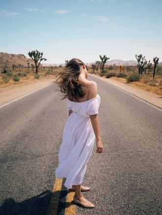 jestem kasia blogger dress sunglasses belt shoes ballet flats off the shoulder dress white dress midi dress summer dress romantic summer dress