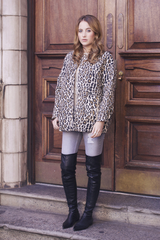 at fashion forte blogger jacket top jeans jewels leopard print ripped jeans fall outfits thigh high boots