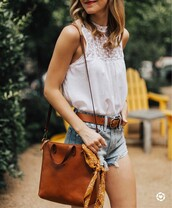 top,leather belt,tumblr,white top,sleeveless,sleeveless top,shorts,denim,denim shorts,bag,brown bag,belt