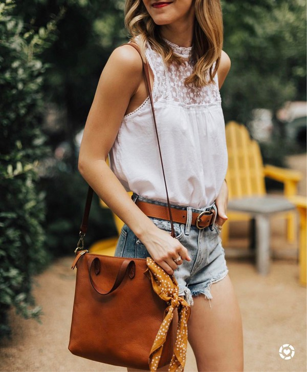 top leather belt tumblr white top sleeveless sleeveless top shorts denim denim shorts bag brown bag belt