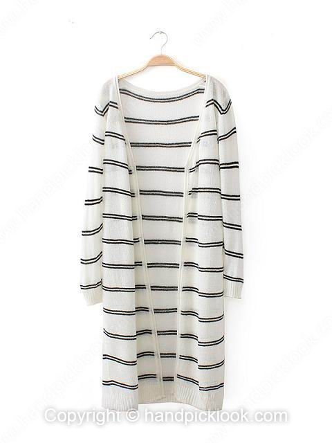 White Long Sleeve Striped Loose Long Knit Top - HandpickLook.com
